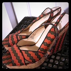 Red and Black Print Platform Shoes